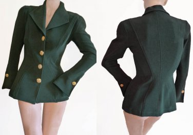 Lillie Rubin VTG 80s jacket S Forest Green Fitted Seamed Crystal Buttons Long Bell sleeves