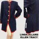 Womens Navy Suit Jacket coat Sz 8 NWT Nordstrom Linda Allard Ellen Tracy Military