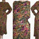 Carole Little Vtg 80s dress Abstract Circles Gorgeous multi  color LS Made USA