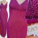 Cache Gown beaded All over Gown Sz S Fuchsia Pink Pageant Prom Evening