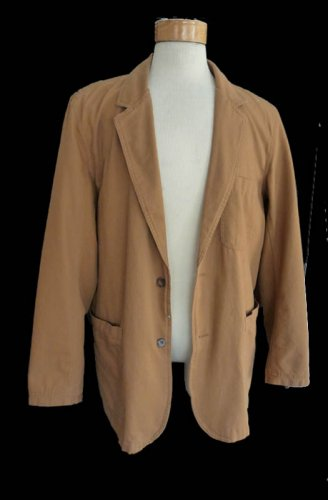 Mens jacket cotton Duluth Trading Co LT Cotton PAdded elbows, large pockets Tan Safari Style