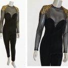 Vintage 1980s Jumpsuit Tadashi bodycon Catsuit Illusion Studded top Ruching LS FAB0 u LOUS