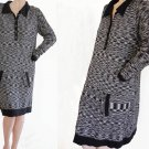 Missoni Dress Black Gray White Shift Sheath LS  SZ L  sweater Famiiglia Space dye