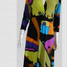 Eva Varro Abstract Print Dress M Boho  Multi color V Neck High waist Knee length