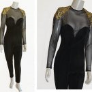 Tadashi Catsuit Jumpsuit Bodycon Illusion top Vintage 1980s Studded Ruching LS FAB u LOUS