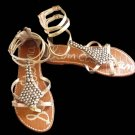 Sam Edelman Sandals Gladiator Flat Ankle straps Ginger 6 M Flats Silver Pewter  Strappy