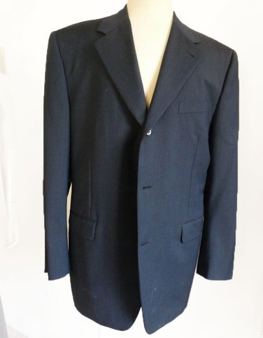Canali Proposta Jacket Blazer 44 Dark blue Black stripes Wool Mohair
