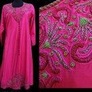 Sari Palace Dress Tunic Ethnic Costume Robe Hot Pink Fuchia embroidery Beading