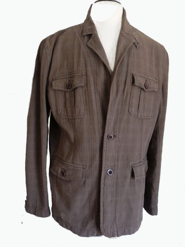 Fossil mens jacket Expedition issue  XL Cotton Safari look Dark Khaki jacket Casual  Button Front