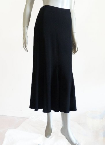 Eileen Fisher Petite skirt Maxi Black PM Ialian Fabric Made USA Viscose wool blend