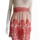 Yoana Barashi Beaded Straps dress Sz 2  Ruched Bodice Midriff Mini Floral Applique