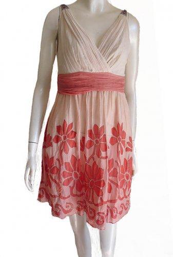 Yoana Barashi Beaded Straps dress Sz 2  Ruched Bodice Midriff Mini Floral Applique