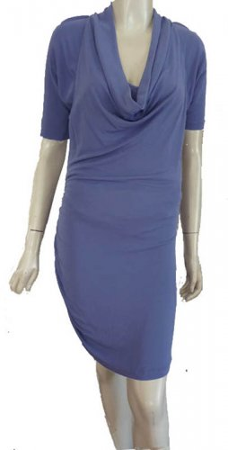 Halston Heritage Ruched Bodycon Blue Dress Cowl neck Short Sleeve Cowl neck Slinky Stretch Dress