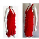 Cache Red dress Halter Size 6 Ruffles Tiered Layered