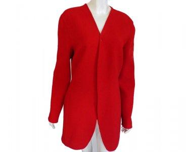Donna Karan Red jacket Size 12 blazer Hand Tailored Open Front Black label
