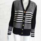 St John Collection Top Cardigan Jacket  M Top Black White Horizontal stripes
