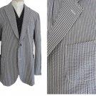 Ermenegildo Zegna Mens Jacket Blazer Striped Cotton Gray White Sportcoat 46 Switzerland
