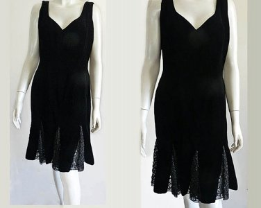 Oleg Cassini Black Dress Sz 12 Velvet Black tie beaded net gussets hem Hour glass