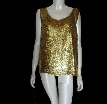 Lillie Rubin Sequin Top Gold glitter silk Tank tunic  M - Large sleeveless