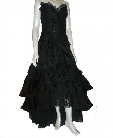 Ruffled Strapless Belleville Sassoon Gown black dress Sz 8 Asymmetrical hem  Haute Couture