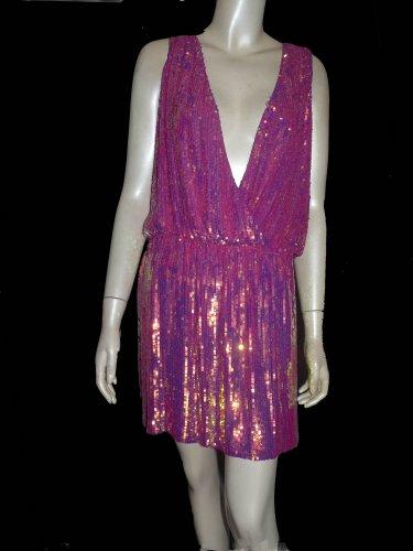 Nicole Miller Sequin dress  mini  New Exquisite Sz M Cocktail party  neck sleeveless