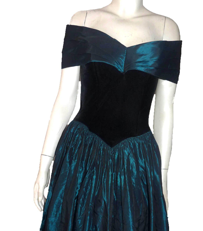 f14386167ee Vintage Jessica McClintock dress Gunnesax 5   6 Formal Teal Portrait Off  shoulder