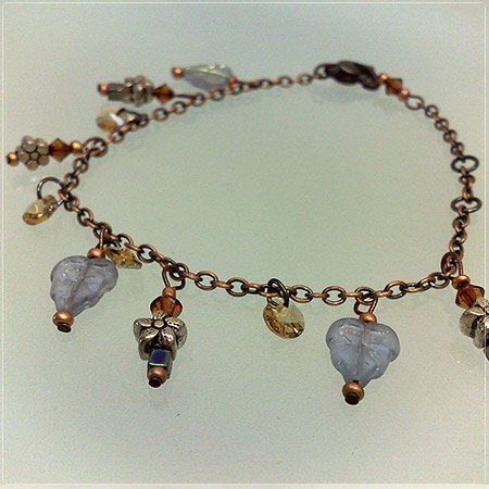 Handmade Triplet frosted Purplish leaves Charms Bracelet