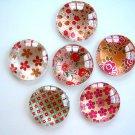 Red Orange Flower Round Glass Magnet, Red round Fridge Magnet, Flower Round Magnet - 6 PCS