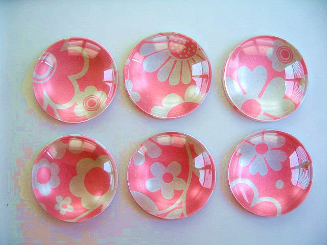 Bright Pink Color Round Glass Magnet, Round Pink Fridge Magnet, Pink Magnet