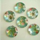 Light Green Blue Flower Round Glass Magnet, Fridge Magnet