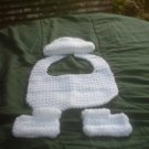 BOYS HAT, BIB,BOOTIES WHITE