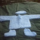 PREEMIE BLUE  SWEATER, HAT, BOTTIES