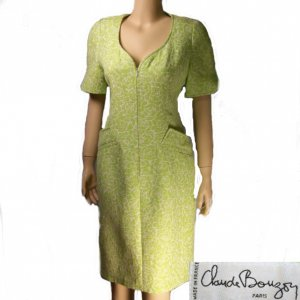 vintage Paris ready to wear Claude Bouzoy matelasse tailored dress med