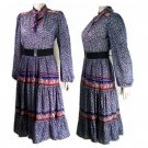 vintage peasant dress 70s  full skirt dress small