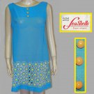 Seashells Miami 60s mini dress blue yellow daisies semi sheer med