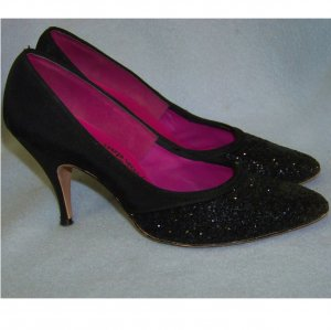 50s stiletto heels black glitter Adorably yours 6.5 AA