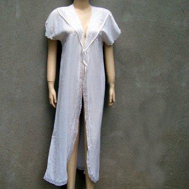 vintage cotton Gauze tie robe cover up lace trim long size MEDIUM