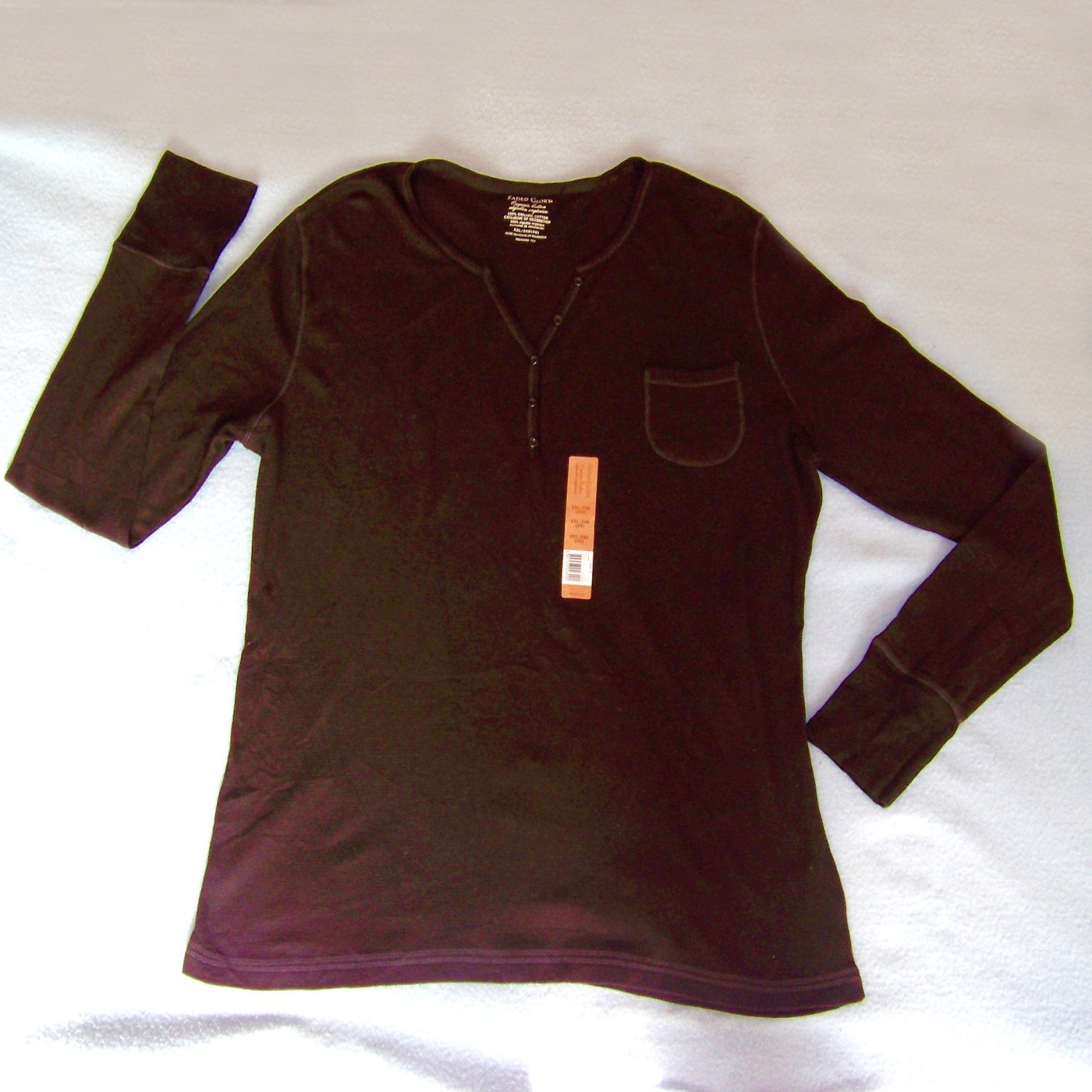 Faded glory organic cotton thermal shirt black size 2X new with tag