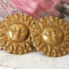 Fun Vintage 80s Gold Tone Sun Pierced Earrings