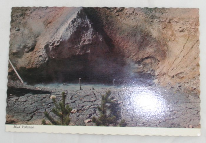 """Mud Volcano"" 60s VINTAGE POSTCARD Yellowstone"