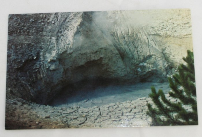 """Mud Volcano"" 50s VINTAGE POSTCARD Yellowstone"