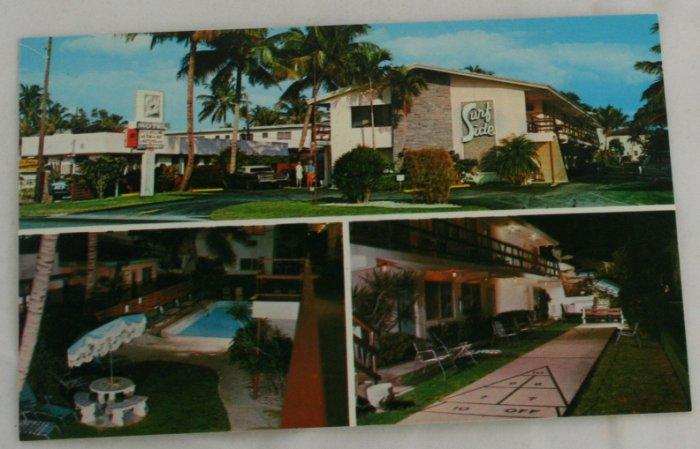 """Surfside Apartments""  VINTAGE POSTCARD Pompano Beach Florida"