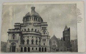 B&W VINTAGE POSTCARD MA Boston First Church Scientist