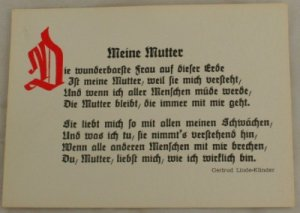 POSTCARD German-My Mother-Gertrud Linde-Klinder