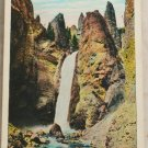 White Border-VINTAGE POSTCARD-Yellowstone-Tower Falls