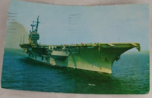 POSTCARD USA VA,Norfolk,Aircraft Carrier,1961 Censored