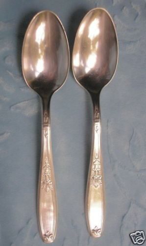 2 1847 Rogers Bros Silver Plate Ambassador Teaspoons