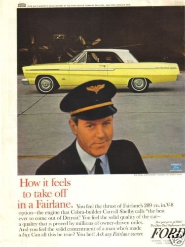 65 Ford Fairlane Airline Captain 1965  Magazine Ad
