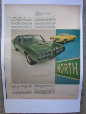1968 Pontiac GTO Look Magazine Preview Page laminated