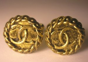 Vintage Designer CC Logo Button Cuff Links Cufflinks Antique Gold Mens Womens Ladies Shirts